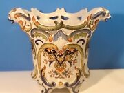 Antique Planter French Faience Hand Painted Dragon Handled C.1800and039s