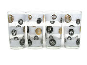 Libbey Set Of 4 Glasses Tumbler Mid Century Coin Frosted Bands Black Gold 10 Oz