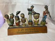 Anri 6 Vintage Hand Carved Wooden Mechanical Bottle Stoppers W/ Stand