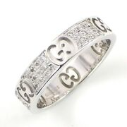 Auth Ring Icon Star Dust Gg Logo Pave Diamond 750 White Gold 12 Us5.75