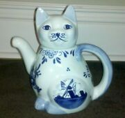 Vintage Delft Blue Holland Windmill Cat Creamer Pitcher Hand-painted -2 Pieces