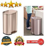 Kitchen Step Trash Can Rose Gold Stainless Steel Pedal Garbage Bin Home Office