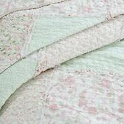 Shabby Chic Cottage Soft Ivory Pink Green Lace Lavender Lilac Ruffle Quilt Set