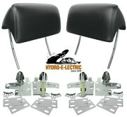New 1966-1967 Gto Tempest And Lempest Black Headrests With Mounting Kit- Pair