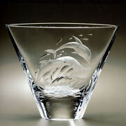 Faberge Work Master Large Crystal Dolphin Vase Hand Engraved 15 Of 150