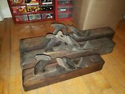 3 Large Scioto Works Antique Planer Wood Planing Tools Lot Wood Working Plane