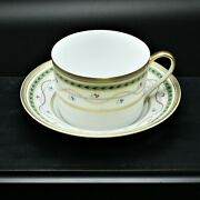 Faberge Luxembourg Limoges Coffee Tea Cup And Saucer China 24k Gold Trim