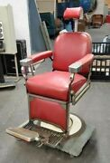 Antique Theo-a-kochs Red Vinyl Barberand039s Chair Vintage Made In Chicago Usa
