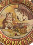 Antique Ohio Art Alphabet Tin Litho Childs Toy Plate Kittens And Sewing Basket