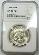1957-d Ngc Ms64fbl Full Bell Silver Franklin Half Dollar 50c Us Coin 26926a