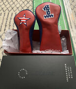 New Titleist Premium Leather Headcover Us Open Limited Set Of 2 Rare Red And Blue