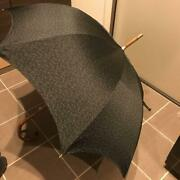 Unused Authentic Hermes Vintage Umbrella Wood Handle Black New Dead-stock