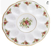 Royal Albert Old Country Roses 11 Deviled Egg Dish By Royal Doulton Plate