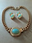 Elizabeth Taylor Taylored For Style Necklace And Earrings Faux Jade Gripoix Glass