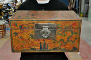 16 Antiques Old Chinese Lacquerware Wood 5 Dragon Statue Jewelry Treasure Boxes