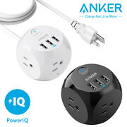 Anker 3-outlet Portable Power Strip Flat Plug W/ 3 Usb Charging Cube 5/8ft Cord