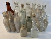 Vtg Antique Medical Apothecary Clear Glass And Amber Cork Top Glass 18 Bottle Lot