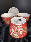 Set Of 4 222 Fifth Gabrielle Red Appetizer Bowls