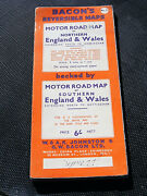 Motor Road Map. England And Wales Baconand039s Reversible Maps No 2 1940s/1950s Vgc