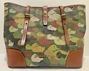 Rare Dooney And Bourke Camouflage Duck Dover Large Totegreat Condition