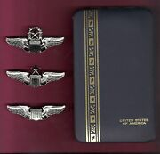 Set Of Us Air Force Pilot Wings Badges Usaf Mirror In Case