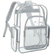 17-inch Clear Security Backpack With Silver Gray Trim, Transparent Pvc Book Bag