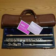 Used Sankyo Flute Wind Instrument With Hard Case Head Tube Made Of Silver