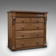 Tall Antique Chest Of Drawers French Oak Bedroom Tallboy Victorian C.1900