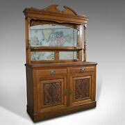 Large Antique Sideboard, English, Oak, Mirror, Cabinet, Arts And Crafts, Victorian