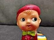 Old Vintage Boy On Bike Mechanical Wind-up Tricycle Tin Toy, Made In Japan