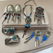 Vintage Native American Sterling Silver Turquoise Pendant Earring Lot