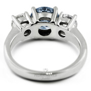 1 1/2ct Blue Si3 Round Natural Certified Diamonds Plat Classic Engagement Ring