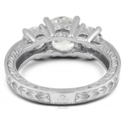 1 1/2ct F Si1 Round Natural Diamonds 18kw Gold Vintage Style Three-stone Ring