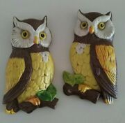Vintage Lefton Ceramic Owl Wall Plaques Red Label Japan Retro 1960and039s 1970and039s