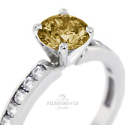 1.36ct Brown Si1 Round Natural Certified Diamonds 14k Classic Side-stone Ring