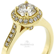 1 1/2ct H Si1 Round Natural Certified Diamonds 14ky Gold Halo Side-stone Ring