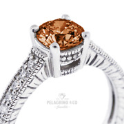1.16ct Red Vs1 Round Natural Diamonds 14k Vintage Style Side-stone Ring