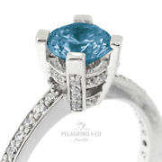1.15ct Blue Si1 Round Natural Certified Diamonds 14k Gold Classic Sidestone Ring