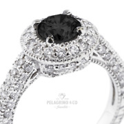 4.42 Ct Black Round Cut Natural Certified Diamonds 18k Gold Halo Side-stone Ring