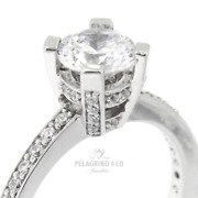 1.37ct D-vs2 Round Natural Certified Diamonds 18kw Gold Classic Side-stone Ring