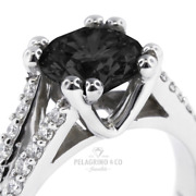 3.61 Tcw Black Round Brilliant Natural Certified Diamonds Plat Side-stone Ring