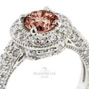 2.17 Tcw Red Vs1 Round Cut Natural Certified Diamonds Plat Halo Sidestone Ring