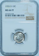 1955 D Ngc Ms66ft Full Torch Roosevelt Silver Dime