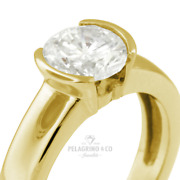 1/2ct D Vs1 Round Natural Certified Diamond 18ky Gold Solitaire Engagement Ring