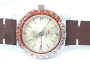 Vintage Enicar Red Bezel Sherpa Gmt 33 Ultrasonic Swiss Watch Extremely Rare