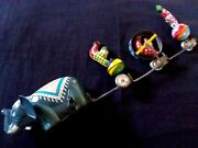 Vintage Tps Wind-up Tin Toy Circus Parade - Elephant And Clowns - T.p.s. Japan
