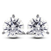 3/4 Carat F Si1 Round Cut Natural Certified Diamonds 14kw Gold Stud Earrings