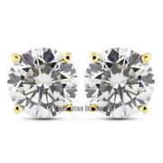 0.95 Carat E-si1 Round Brilliant Natural Certified Diamonds 14ky Gold Earrings
