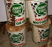 4 Vintage Quaker State Racing Motor Oil Old 1 Qt. Tin Can Full