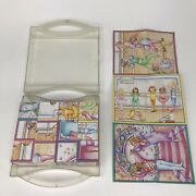 Vintage 6 Sided Paper Litho Wooden Block Cube Puzzle Dancers In Case 12 Blocks